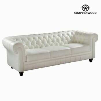 White three-seat sofa